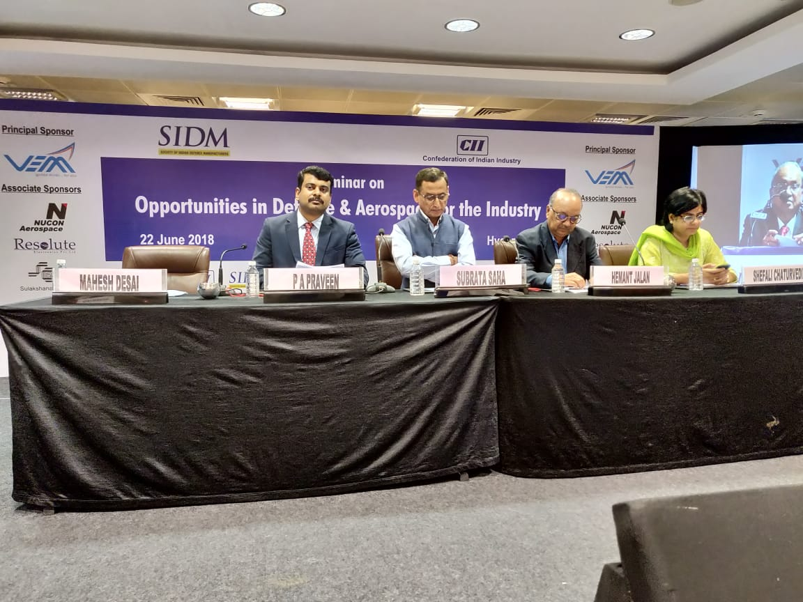 Panelists in the Opening Session of the seminar on 'Opportunities for Industry in Defence & Aerospace' in Hyderabad
