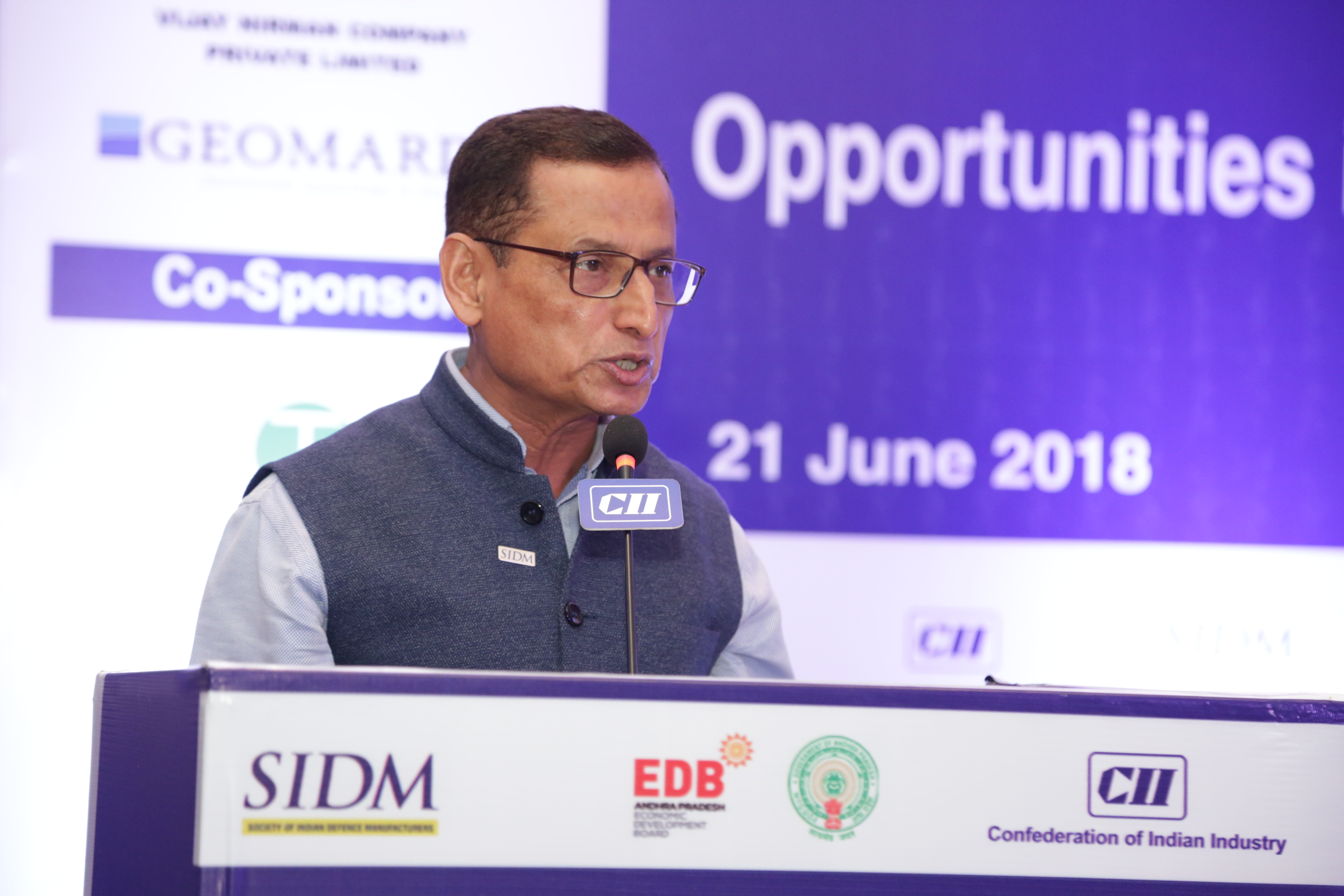Director General, SIDM addressing the opening session at the Seminar on 'Opportunities in Defence & Aerospace for Industry', Visakhapatnam, 21 June 2018