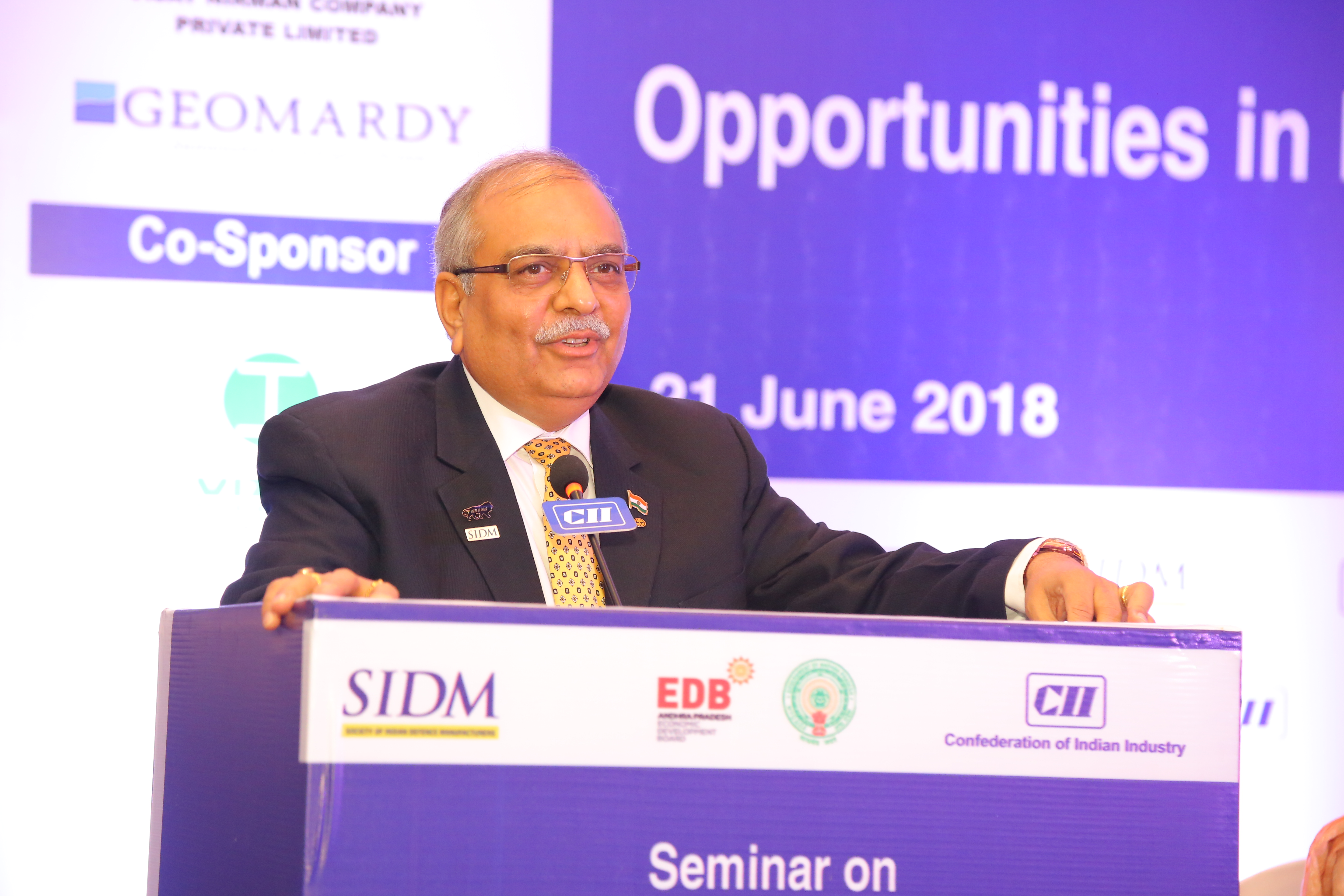 Jayant D Patil, Vice President, SIDM addressing the opening session at the Seminar on 'Opportunities in Defence & Aerospace for Industry', Visakhapatnam, 21 June 2018