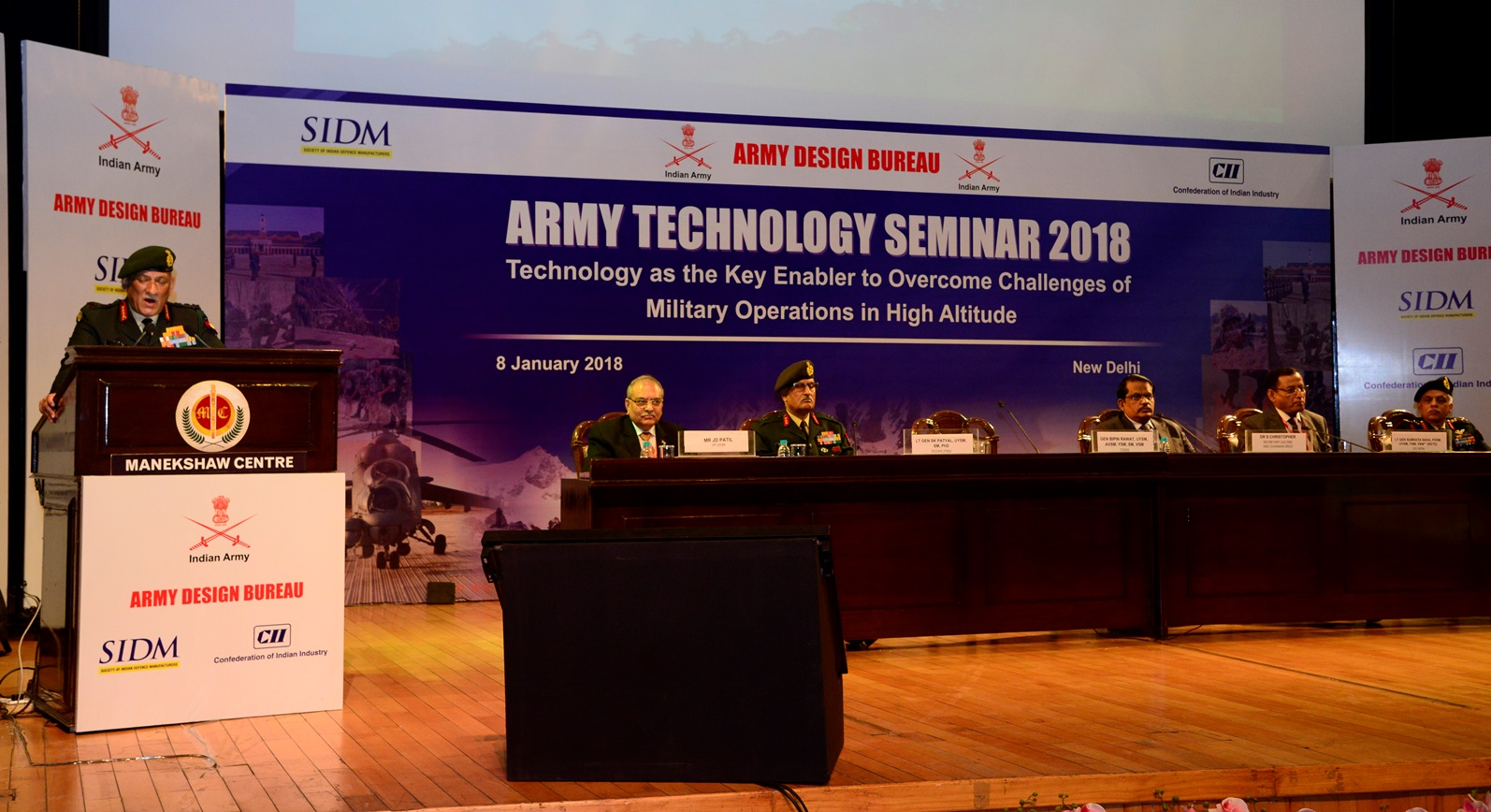 General Bipin Rawat, COAS addressing the inaugural session of ARTECH 2018 in New Delhi on 08 January 2018