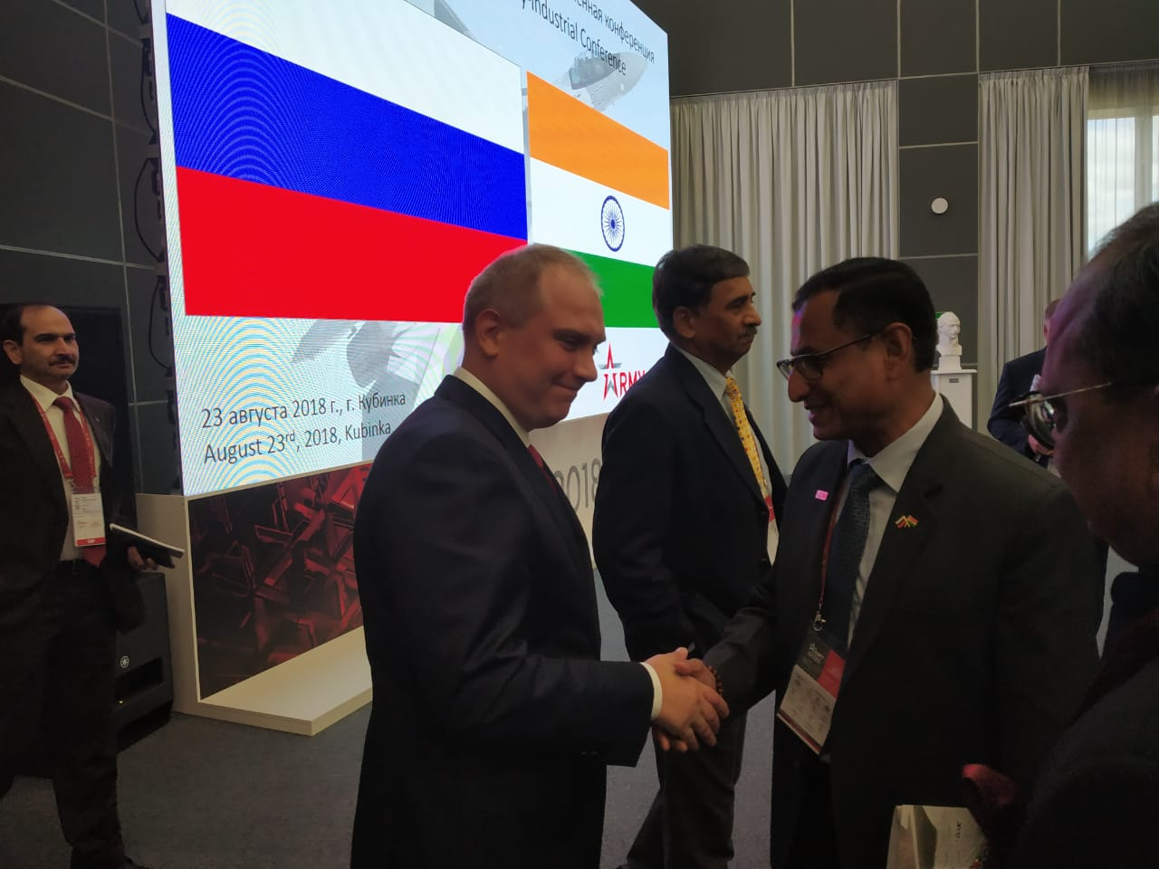 DG SIDM interacting with Deputy Minister Industry, Ryazantsev Oleg Nikolaevich to discuss Indo-Russian joint ventures at ARMY 2018, Moscow